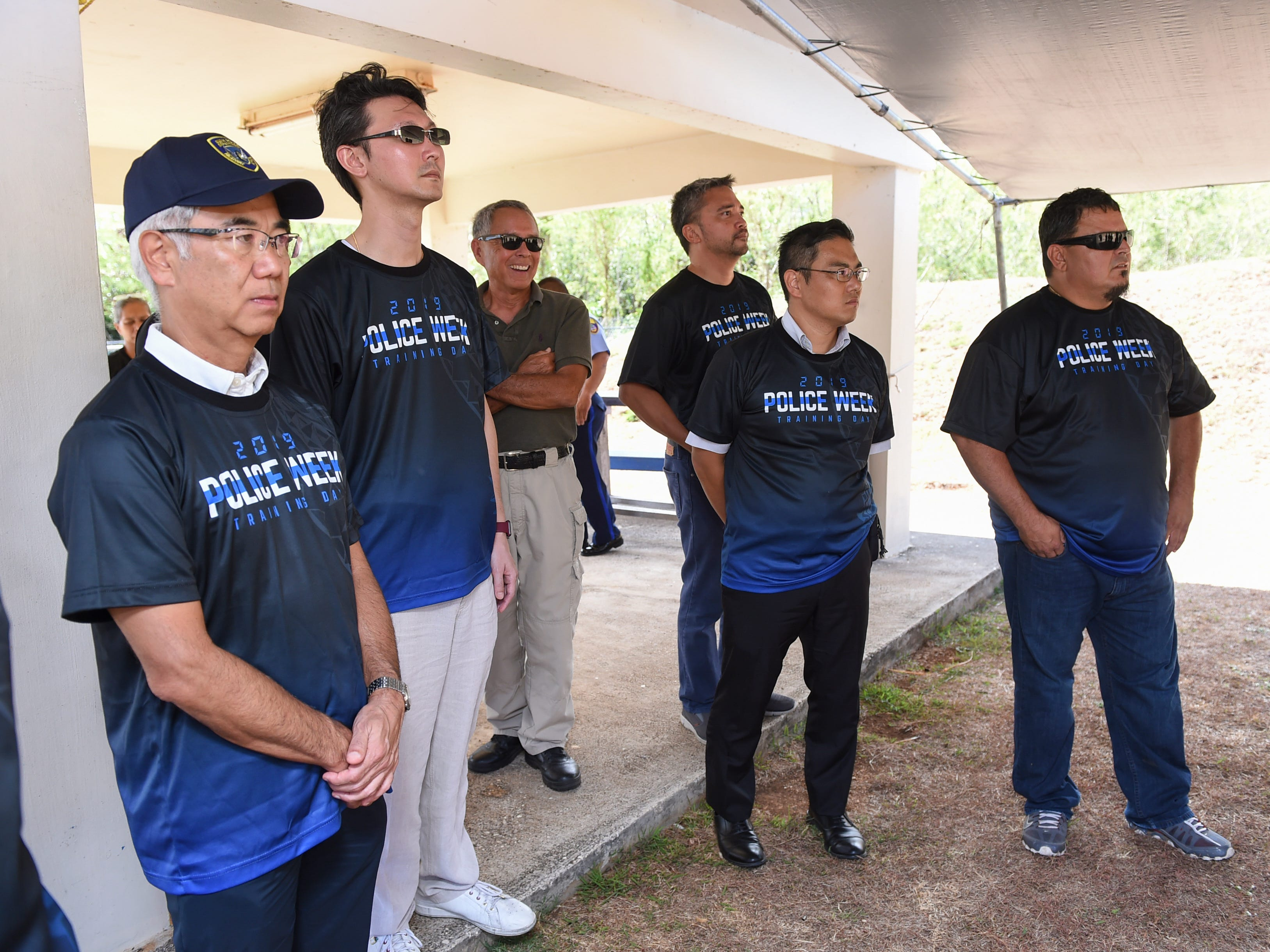 Executives from various companies attend a firearms training held by the Guam Police Department at GPD's shooting range on the Guam Community College campus in Mangilao, May 14, 2019.