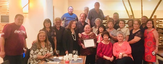 Islandwide Class of 1967 congratulatory dinner for Elaine Fejeran at Hilton's Islander Terrace for her 10 years of services rendered at Linda's Coffee Shop in East Hågatña. Pictured seated from left: LouJean Borja; Mari Guerrero; and Becky Gamboa. Standing front row:  Jared Sequenza (Elaine's son); Jo & Mario Borja; Annette Dill; Peter Alexis Ada; Elaine Fejeran, Celebrant; Lou Benavente; Nit Matanona; Edith and Danny Blaz; Terry Roberto; Rose Cruz; Paz Cruz; Joe and Viola Torre. Standing back row:  Roy Pangelinan; Felix Benavente and Robert G. Cruz.