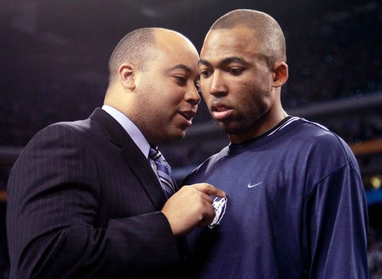 FILE – Butler forward Willie Veasley gets words from assistant coach Micah Shrewsberry before the 2010 NCAA championship game at Lucas Oil Stadium.