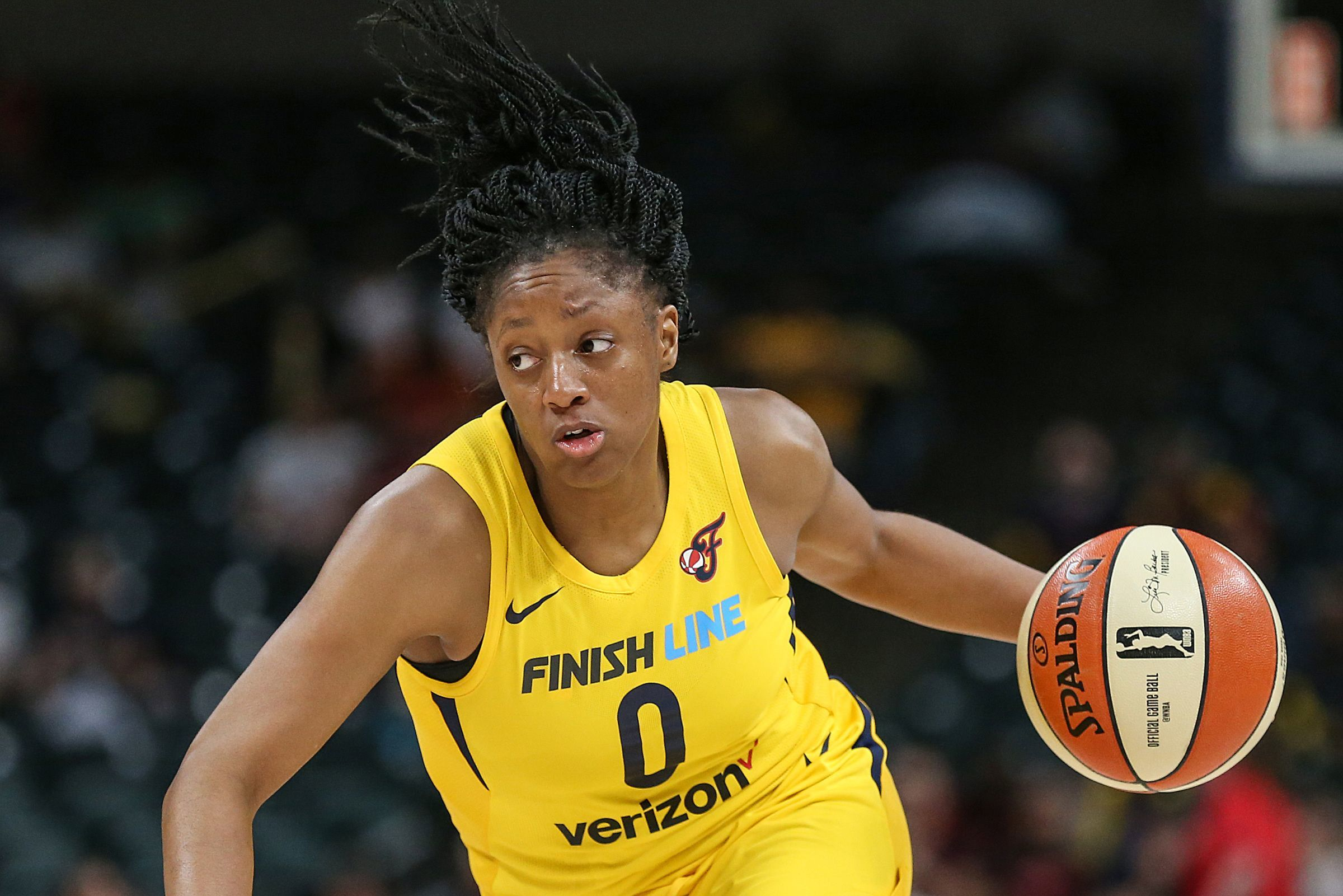 FILE – Fever guard Kelsey Mitchell scored a game-high 11 points in the team's preseason win over Chicago on Tuesday.