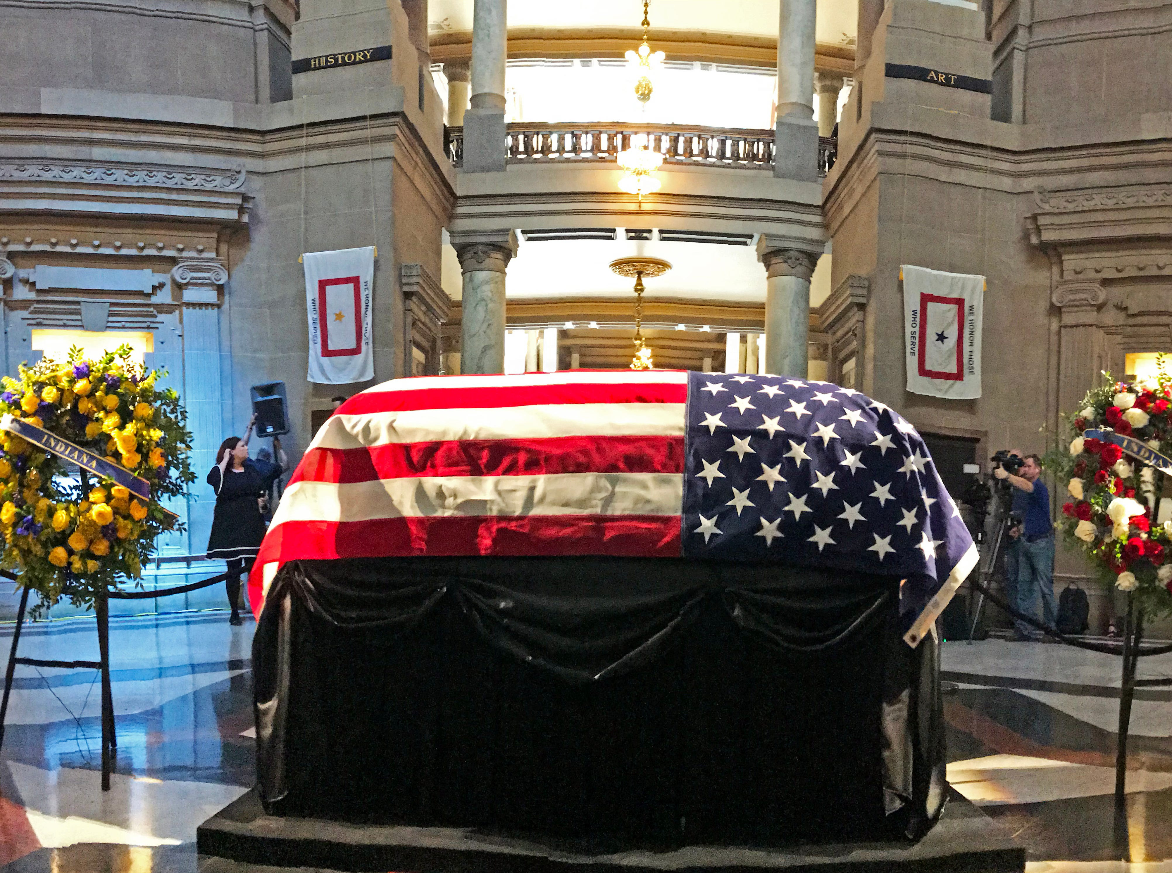 Former Indiana Senator Richard Lugar lies in state in the Statehouse rotunda in Indianapolis Tuesday, May 14, 2019.