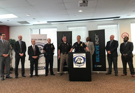 Indianapolis Metropolitan Police Chief Bryan Roach and others spoke at a news conference on May 14. Officials announced the collaboration between OneCOP and AT&T's Believe Indy.