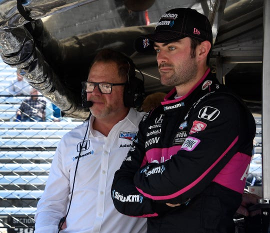 Jack Harvey (60) of Meyer Shank Racing with Schmidt Peterson Motorsports,  with team owner Michael Shank, left, during practice for the Indianapolis 500 at the Indianapolis Motor Speedway on Tuesday, May 14, 2019.