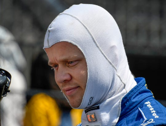 Felix Rosenqvist (10) of Chip Ganassi Racing during practice for the Indianapolis 500 at the Indianapolis Motor Speedway on Tuesday, May 14, 2019.