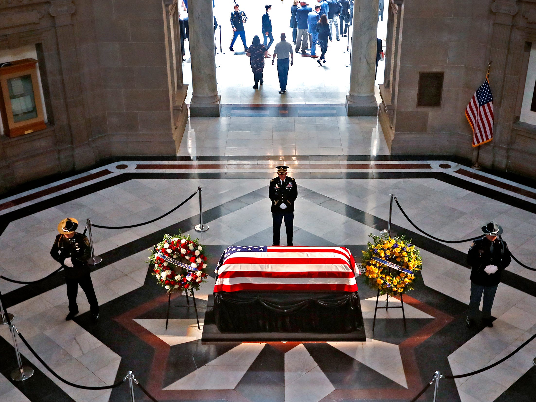 Former Senator and Mayor Richard Lugar lies in state with standing honors under the Statehouse rotunda, Tuesday, May 14, 2019.