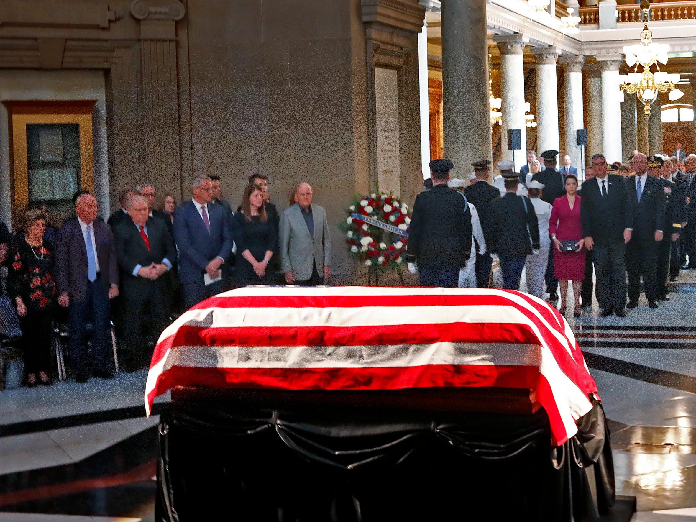 Former Senator and Mayor Richard Lugar lies in state under the Statehouse rotunda, Tuesday, May 14, 2019.  Dignitaries and family come in for a brief ceremony before the public paid their respects.