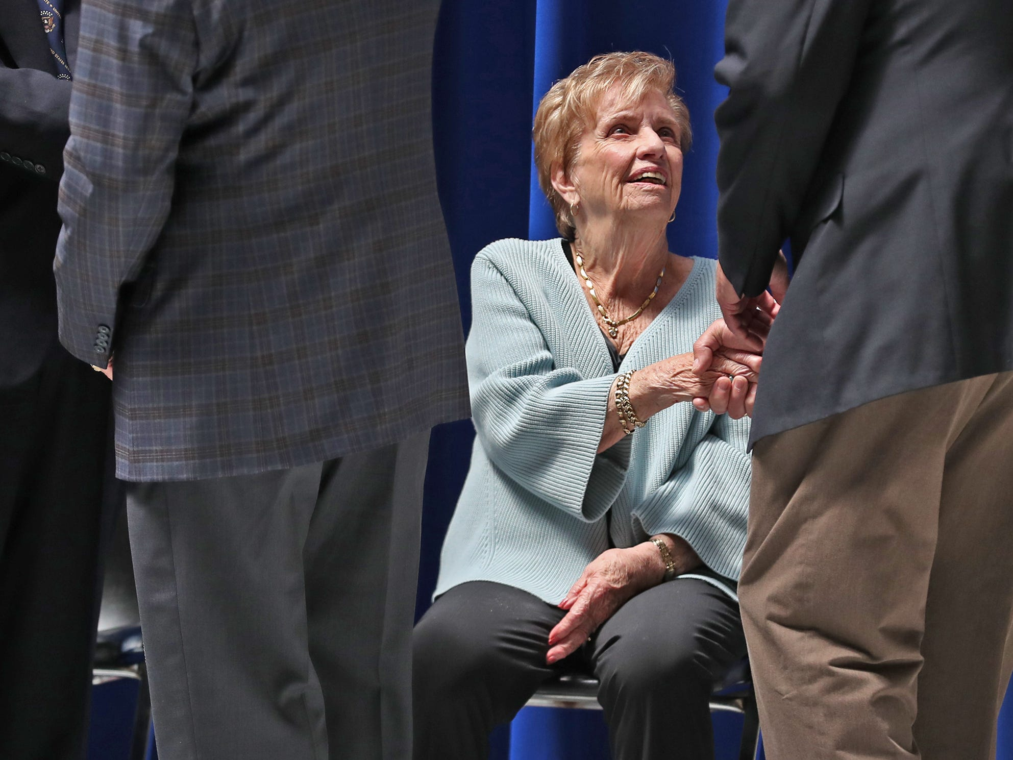 Char Lugar, wife of former Senator and Mayor Richard Lugar, talks with people paying their respects as the late Senator lies in state under the Statehouse rotunda, Tuesday, May 14, 2019.