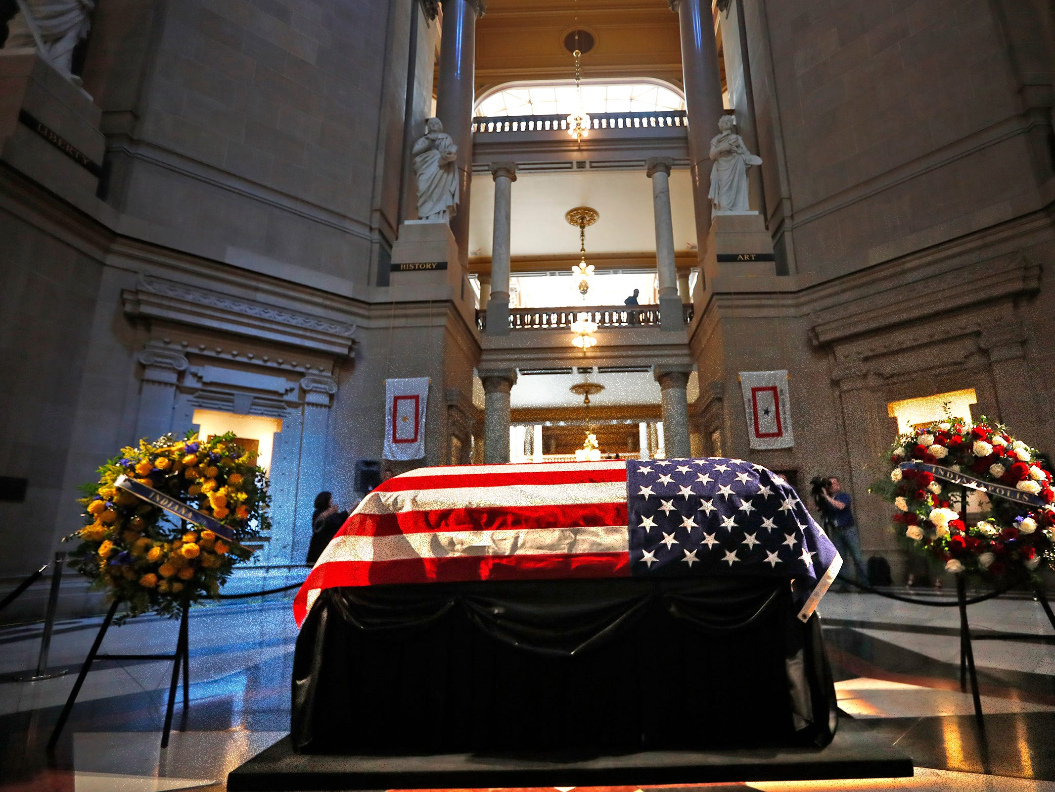 Former Senator and Mayor Richard Lugar lies in state under the Statehouse rotunda, Tuesday, May 14, 2019.