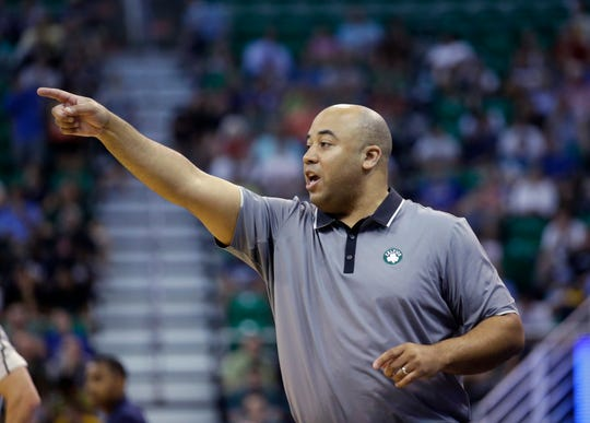 Boston Celtics coach Micah Shrewsberry shouts to his team during the first half of an NBA summer league basketball game against the the Utah Jazz on, July 5, 2016, in Salt Lake City.