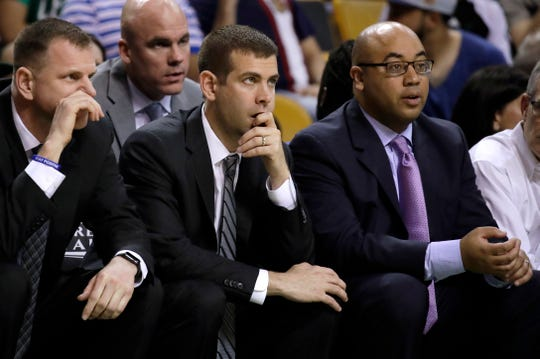After serving as an assistant with Brad Stevens (middle) at Butler, Micah Shrewsberry (right) joined Stevens in Boston.