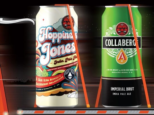 "This artist's rendering shows two beers, Hoppiness Jones and Collaberge, that are part of Sun King Brewing's ""10-4 Good Buddy"" anniversary release."