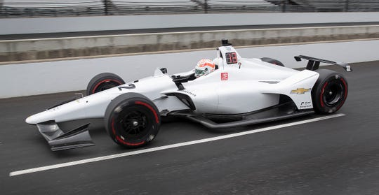 Kyle Kaiser (32) of Juncos Racing drives down pit road during practice for the Indianapolis 500 at the Indianapolis Motor Speedway on Tuesday, May 14, 2019.