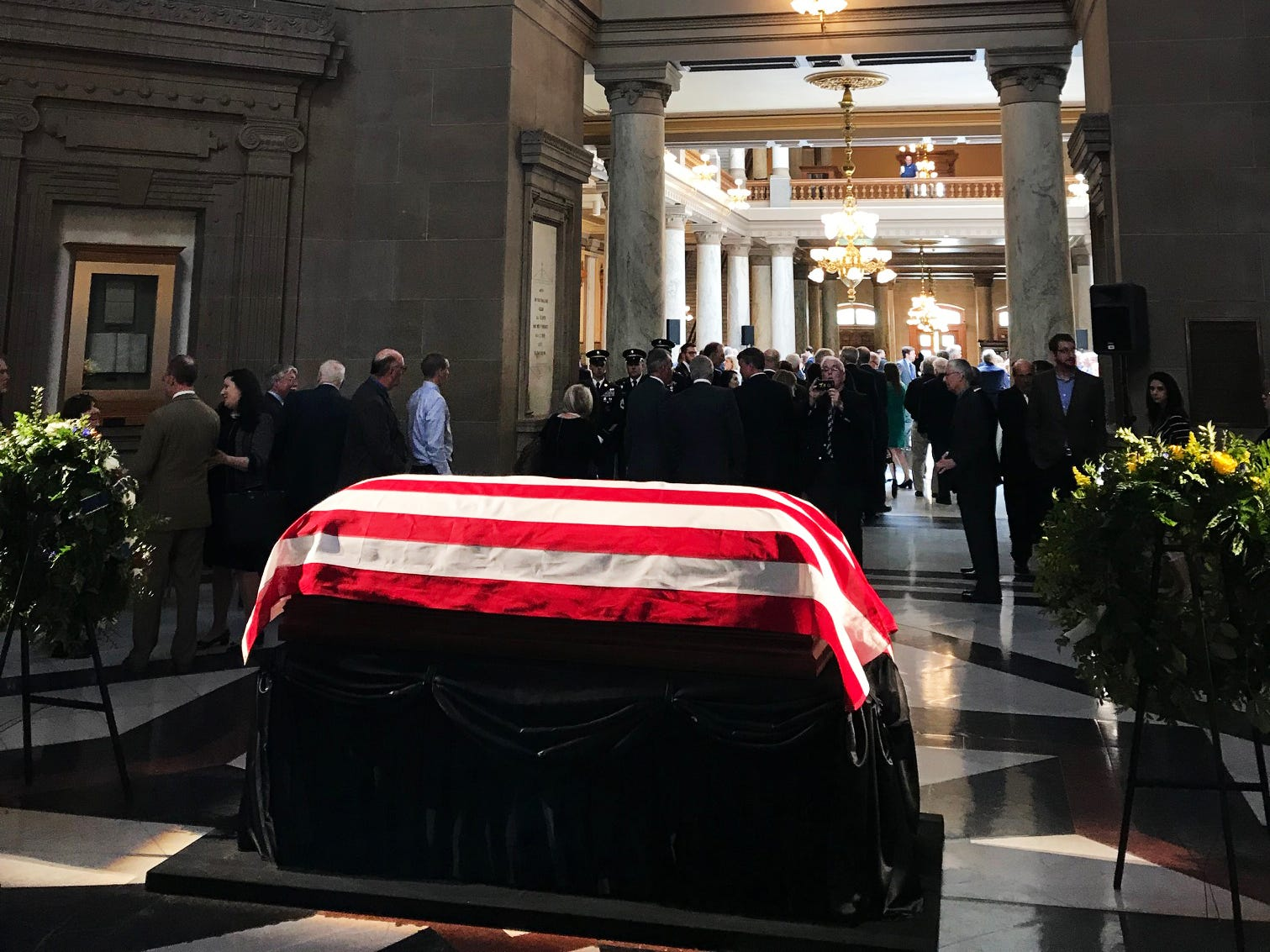 Mourners file past the body of former Senator Richard Lugar as he lies in state in the rotunda of the State Capitol in Indianapolis Tuesday, May 14, 2019.