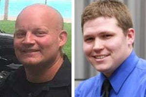 Travis Neeld, at left, during an event in September of 2017 and Alex Stricker while receiving 2012 Officer of the Year award in January of 2013.