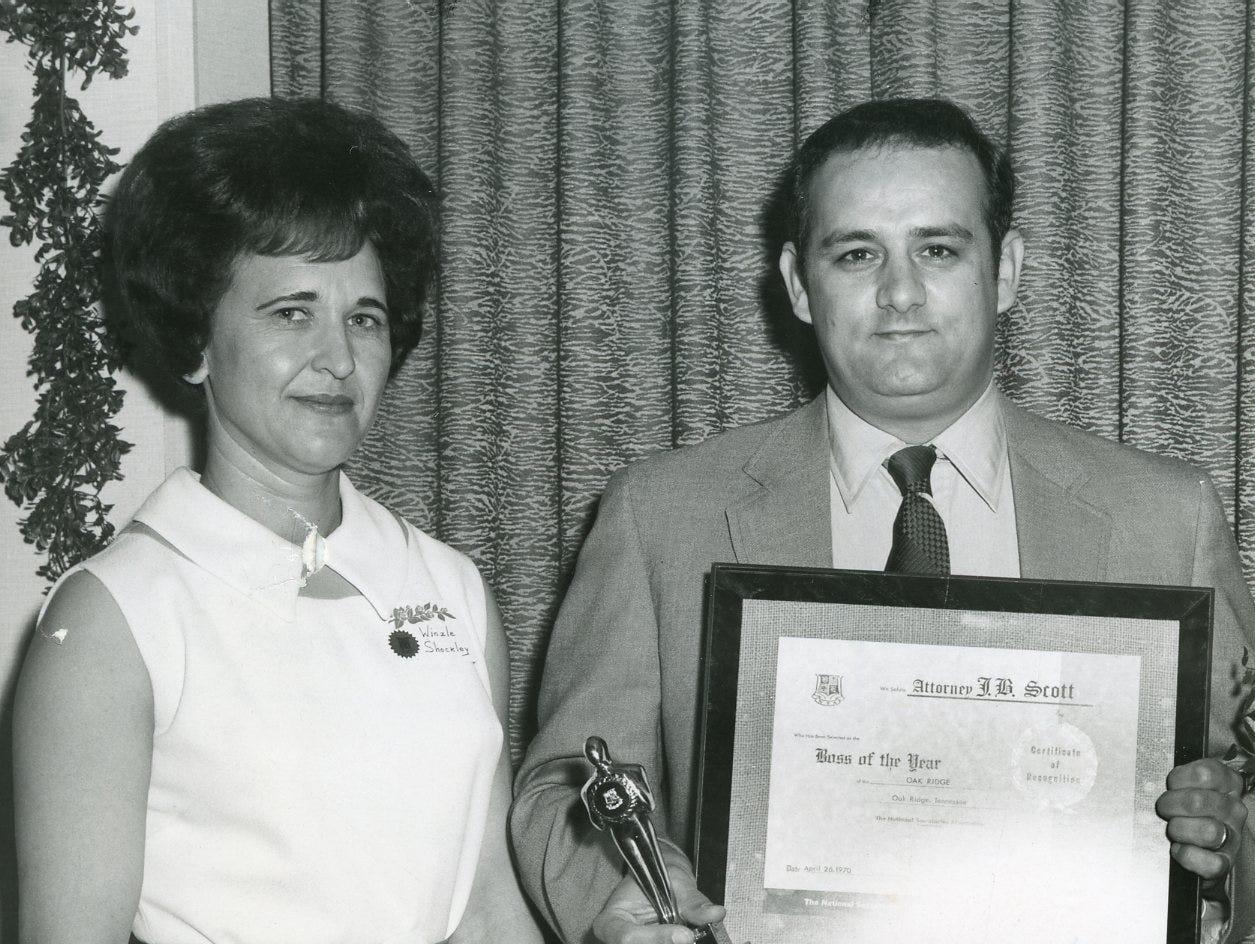 "Winzle Shockley and attorney James B. ""Buddy"" Scott. April, 1970."