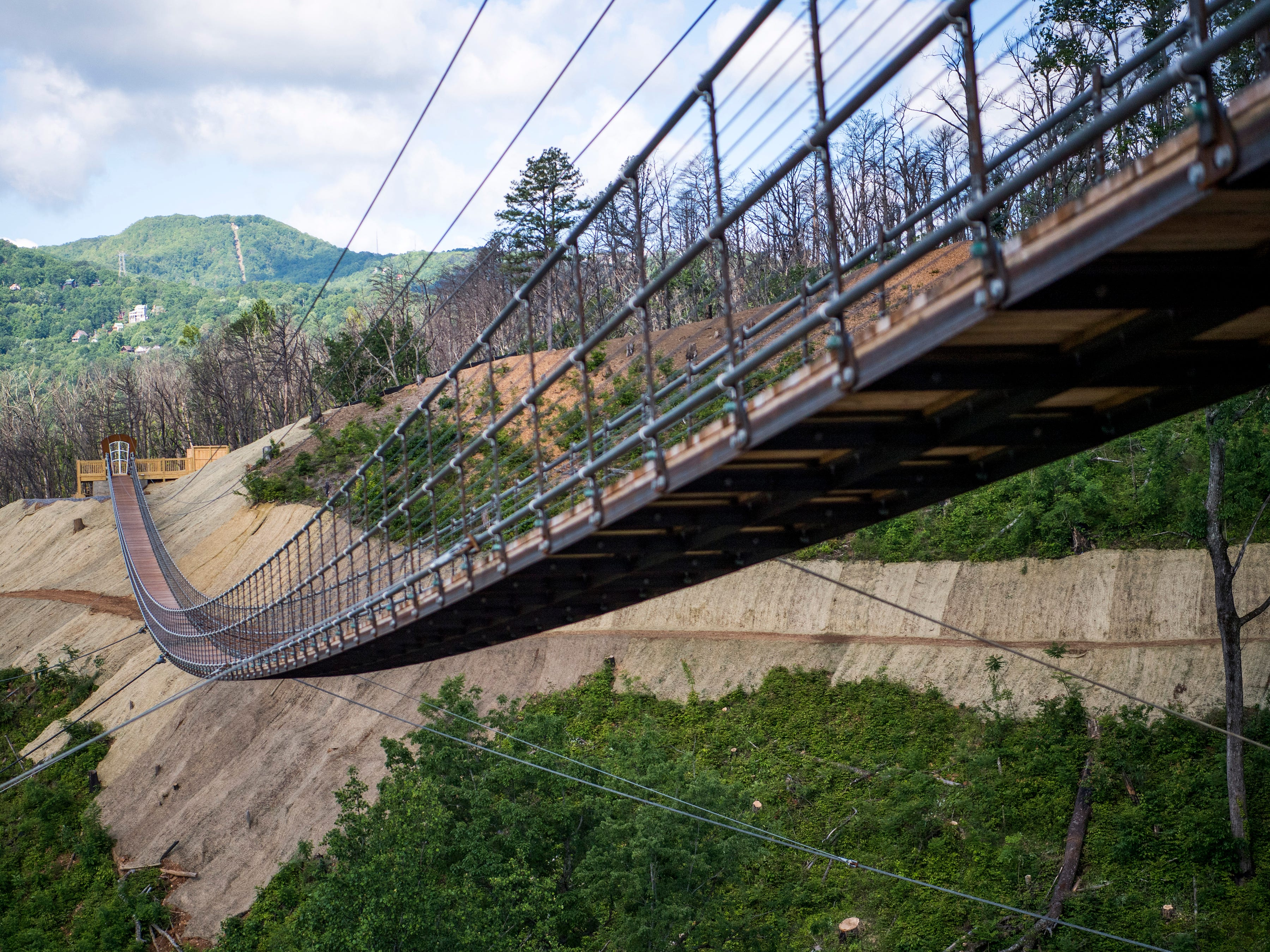 The Gatlinburg SkyBridge, pictured on Tuesday, May 14, 2019, is North America's longest pedestrian suspension bridge and offers panoramic views of Gatlinburg and the Smoky Mountains.