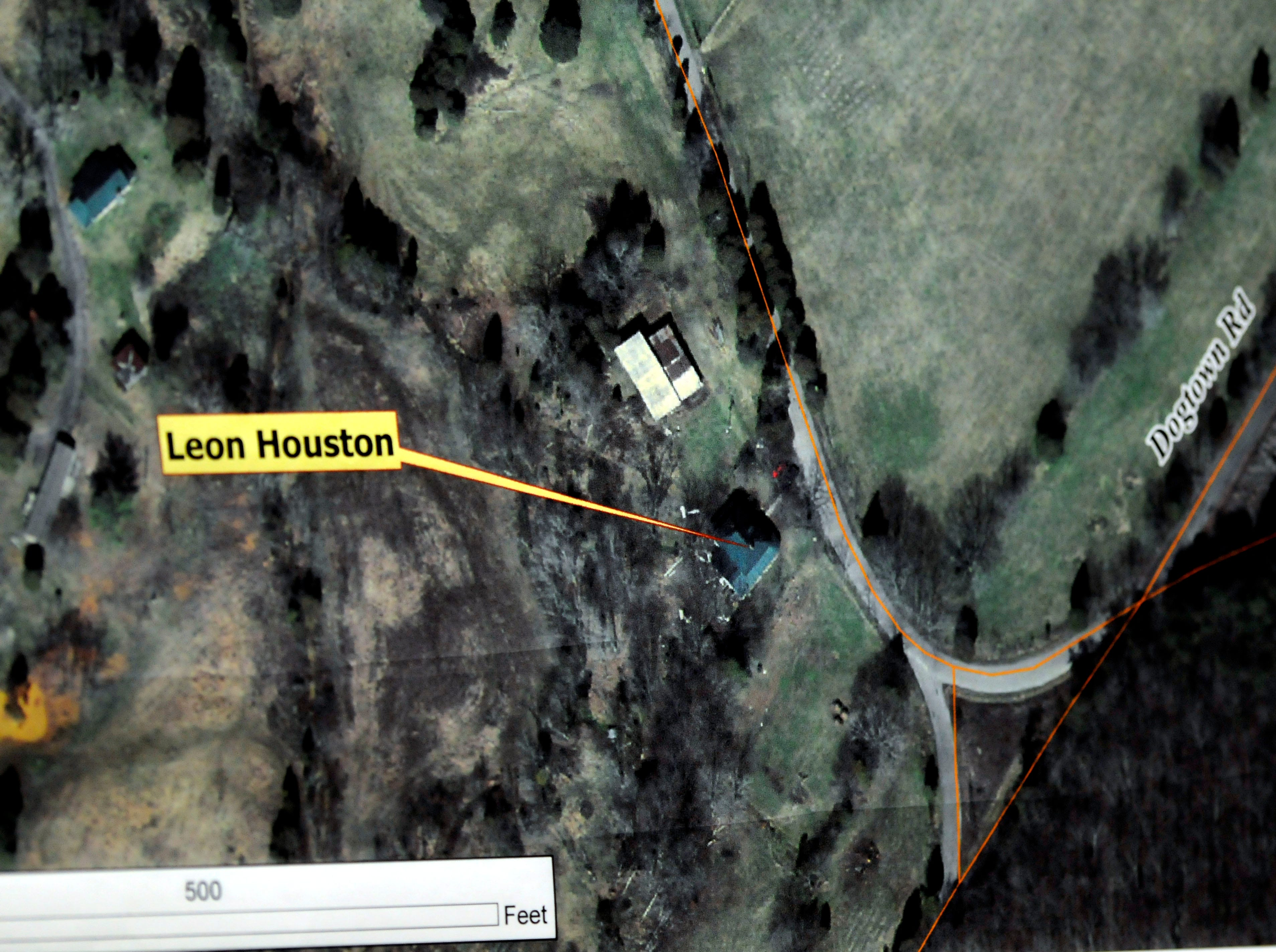 The aerial map used during the trial showing the location of Leon Houston's home on Barnard Narrows Road. The defense resumed its case Tuesday in the double murder trial of Rocky Joe Houston in Roane County Circuit Court. Houston is accused of the May 2006 ambush murders of Roane County Sheriff's Office Deputy William Birl Jones, 53, and his ride-along friend Gerald Michael Brown, 44. Tuesday, December 16, 2008