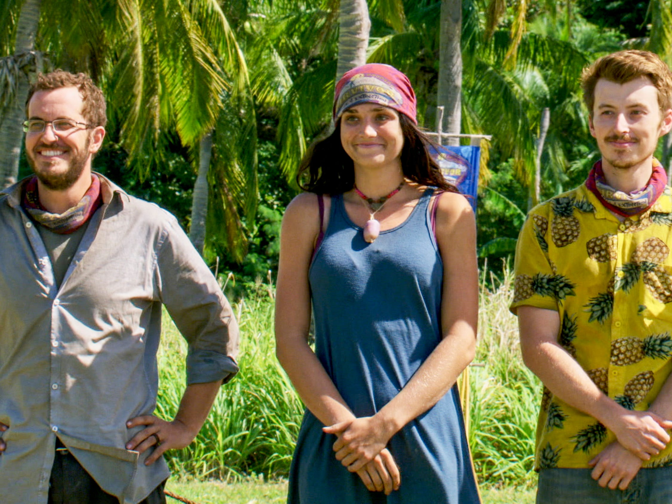 "Rick Devens, Lauren O'Connell and Gavin Whitson on ""Survivor: Edge of Extinction."""
