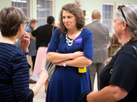 Knoxville mayoral candidate Indya Kincannon talks with attendees to the mayoral forum at Eastminster Presbyterian Church on Monday, May 13, 2019.