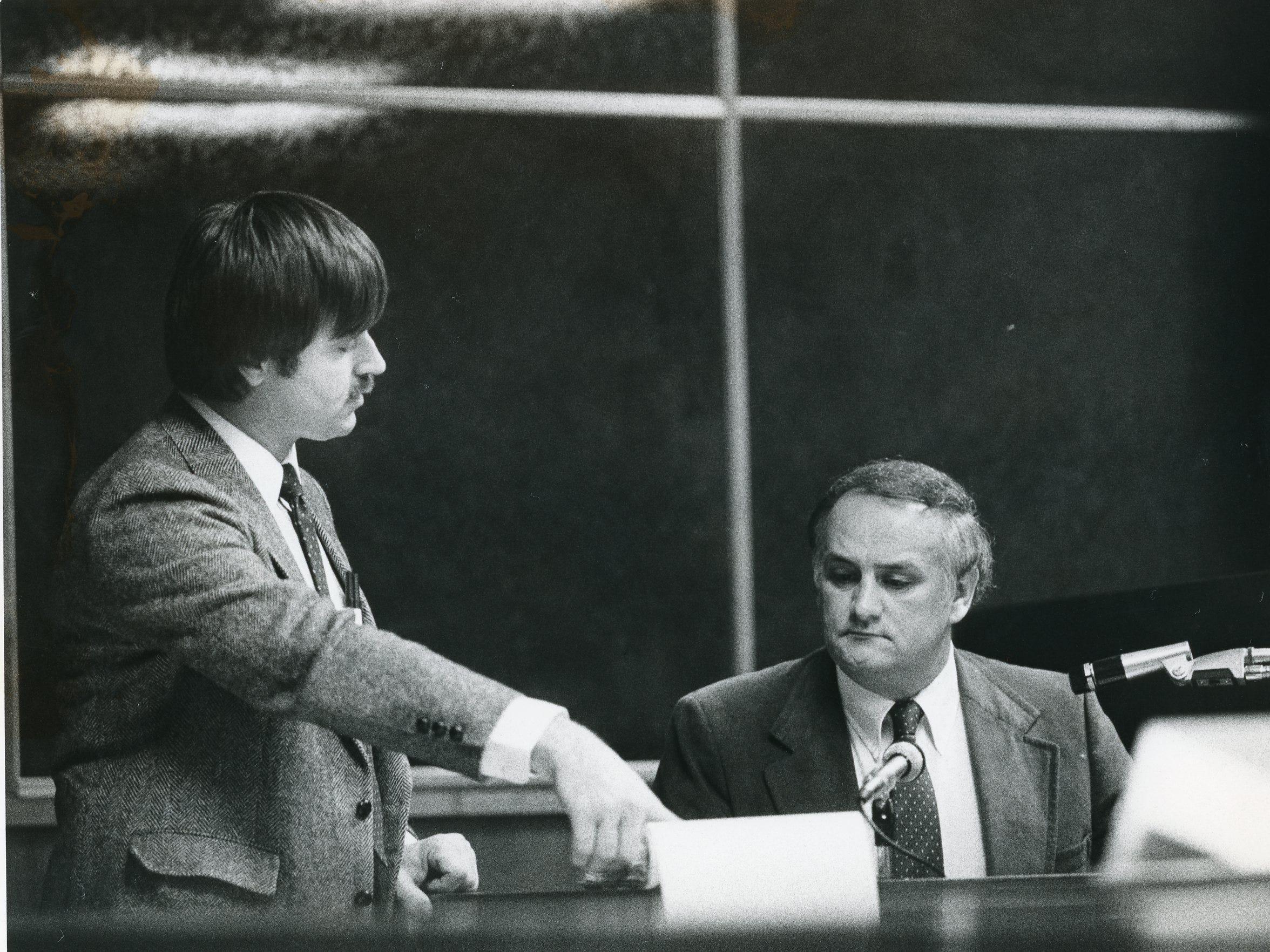 "Prosecutor Carroll Ross, an assistant DA from Monroe County and Judges James B. ""Buddy"" Scott, March 1985."