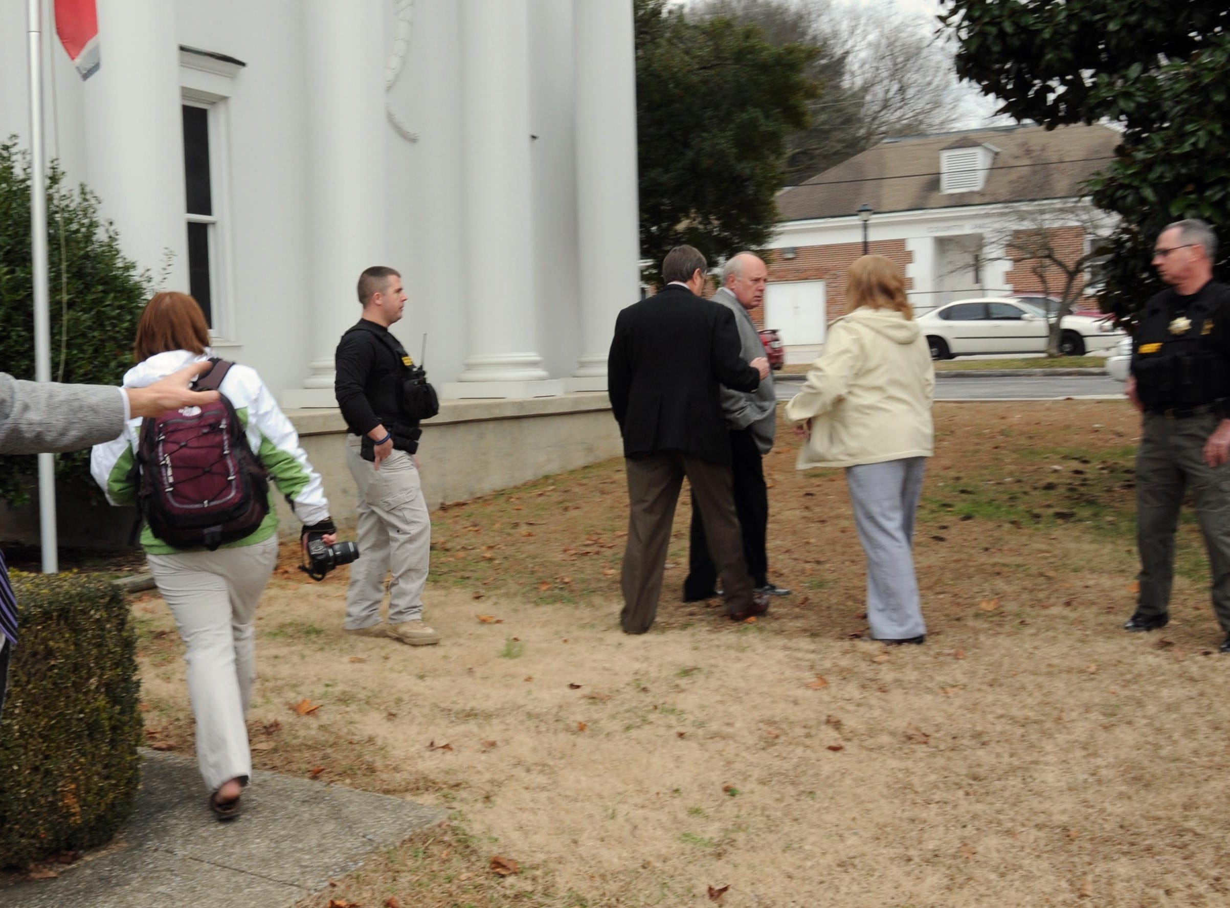 Rocky Houston continued protesting the sale of a portion of the family farm on the front steps of the Roane County Courthouse Tuesday, Jan. 4, 2011 even as Leon's former attorney James Logan was walking away to his car.