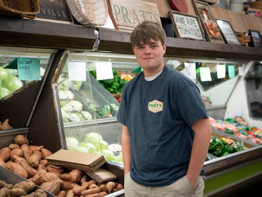 Jake Ensor, 15, with first summer job at Pratt's Country Store Monday, May 13, 2019.