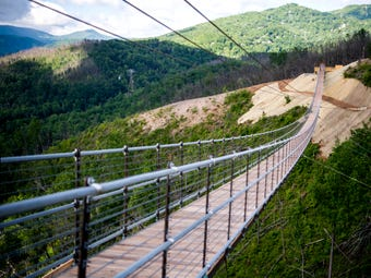 Take a walk across the Gatlinburg SkyBridge, North America's longest pedestrian suspension bridge, which is set to open on May 17