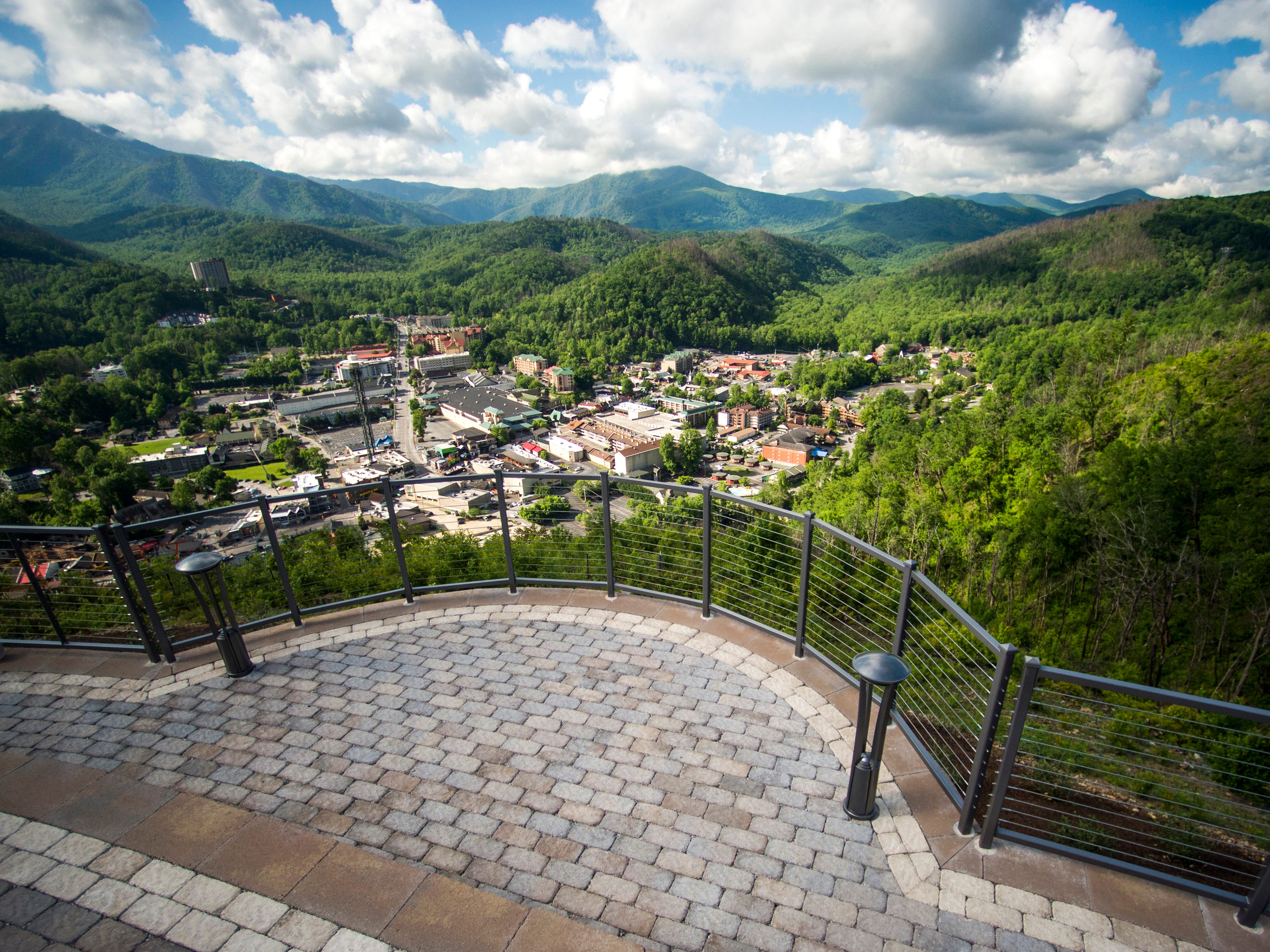 A viewing area at the Gatlinburg SkyLift Park, pictured on Tuesday, May 14, 2019, offers panoramic views of Gatlinburg and the Smoky Mountains as well as a viewing spot to watch people on the SkyBridge.