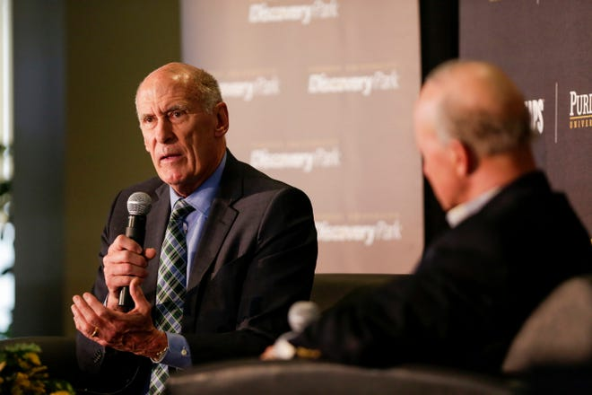 """Director of National Intelligence Dan Coats speaks with Purdue University President Mitch Daniels during the Symposium on Ethics, Technology and the Future of War and Security, Tuesday, May 14, 2019, at Purdue University in West Lafayette. The talk, """"What IF Artificial Intelligence Wages War?,"""" is part of Purdue's Ideas Festival, a series of events tied to the university's 150th anniversary."""