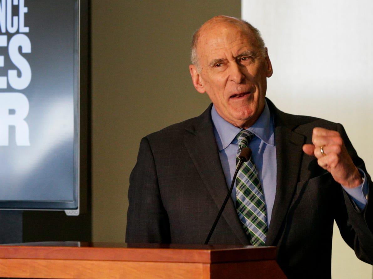 """Director of National Intelligence Daniel Coats speaks during the Symposium on Ethics, Technology and the Future of War and Security, Tuesday, May 14, 2019, at Purdue University in West Lafayette.  The talk, """"What IF Artificial Intelligence Wages War?,"""" is part of Purdue's Ideas Festival, a series of events tied to the university's 150th anniversary."""