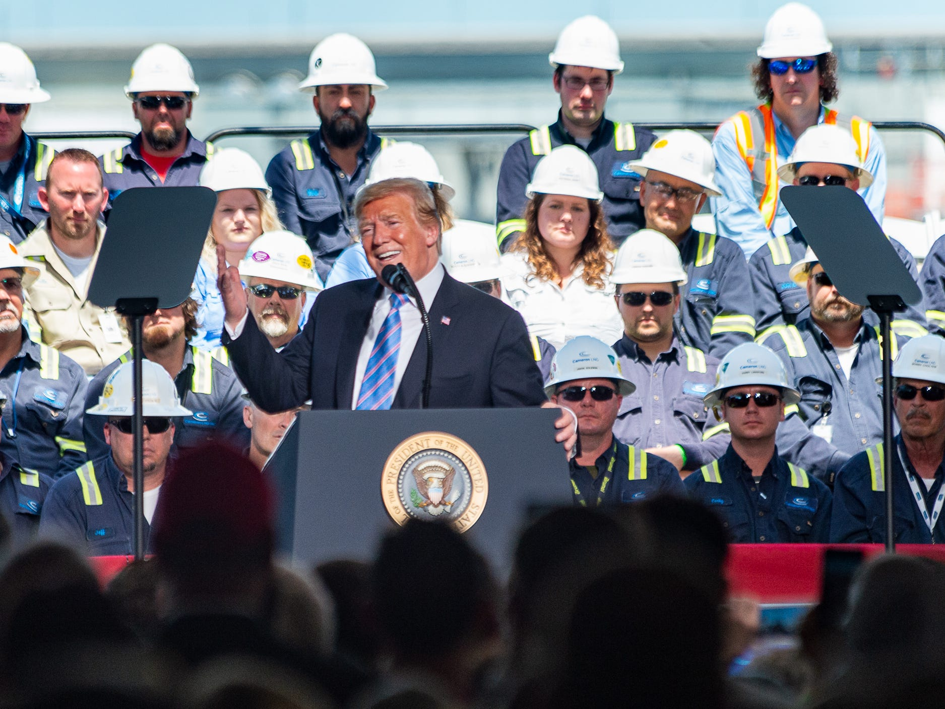 President Donald Trump speaks at Cameron LNG Export Terminal in Hackberry, Louisiana on Tuesday, May 14, 2019.
