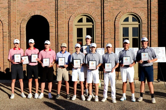 Pictured are 2019 All-Acadiana Golf Team members Saylor Tibbs, Asa Tibbs, Seth Breaux, Harry West, Bryce Sutterfield, Jude Ardoin, Canon Clark, Jay Mendell, Eli Ortego and Zach Hardy. Not pictured are Nic Davis and MVP Matt Weber.