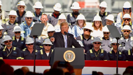 President Donald Trump speaks at  Sempra Energy's liquefied natural gas export facility in Cameron Parish during his visit to Louisiana Tuesday, May 14, 2019.