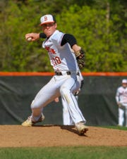 Brighton's Alex DePue pitched a five-hitter and struck out eight in a complete-game 4-2 victory over Hartland on Monday, May 13, 2019.
