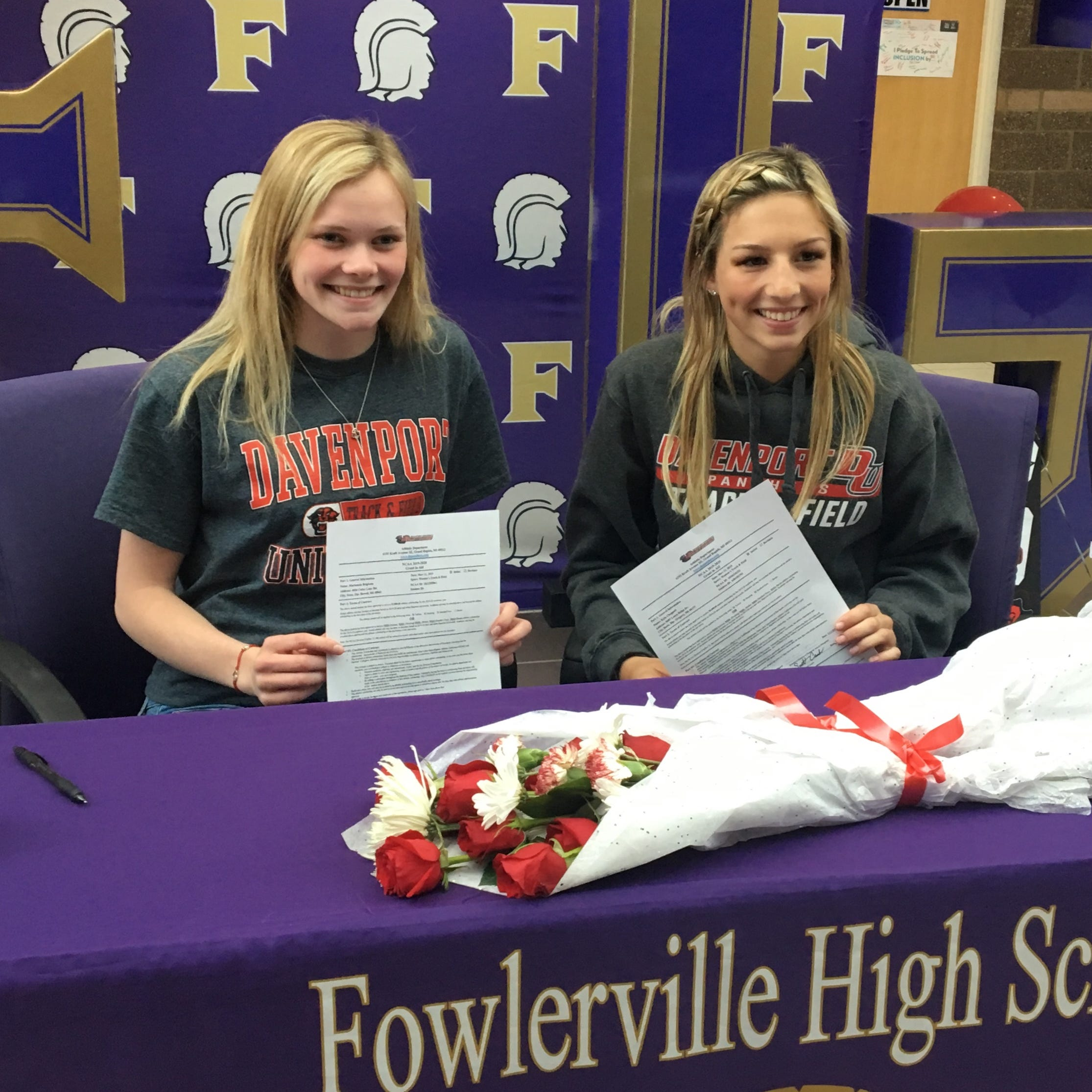 Fowlerville track and field teammates sign with Davenport University