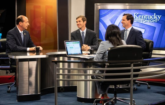 From left, candidates for governor Rocky Adkins, Andy Beshear and Adam Edelen debate on Monday, May 13, 2019.