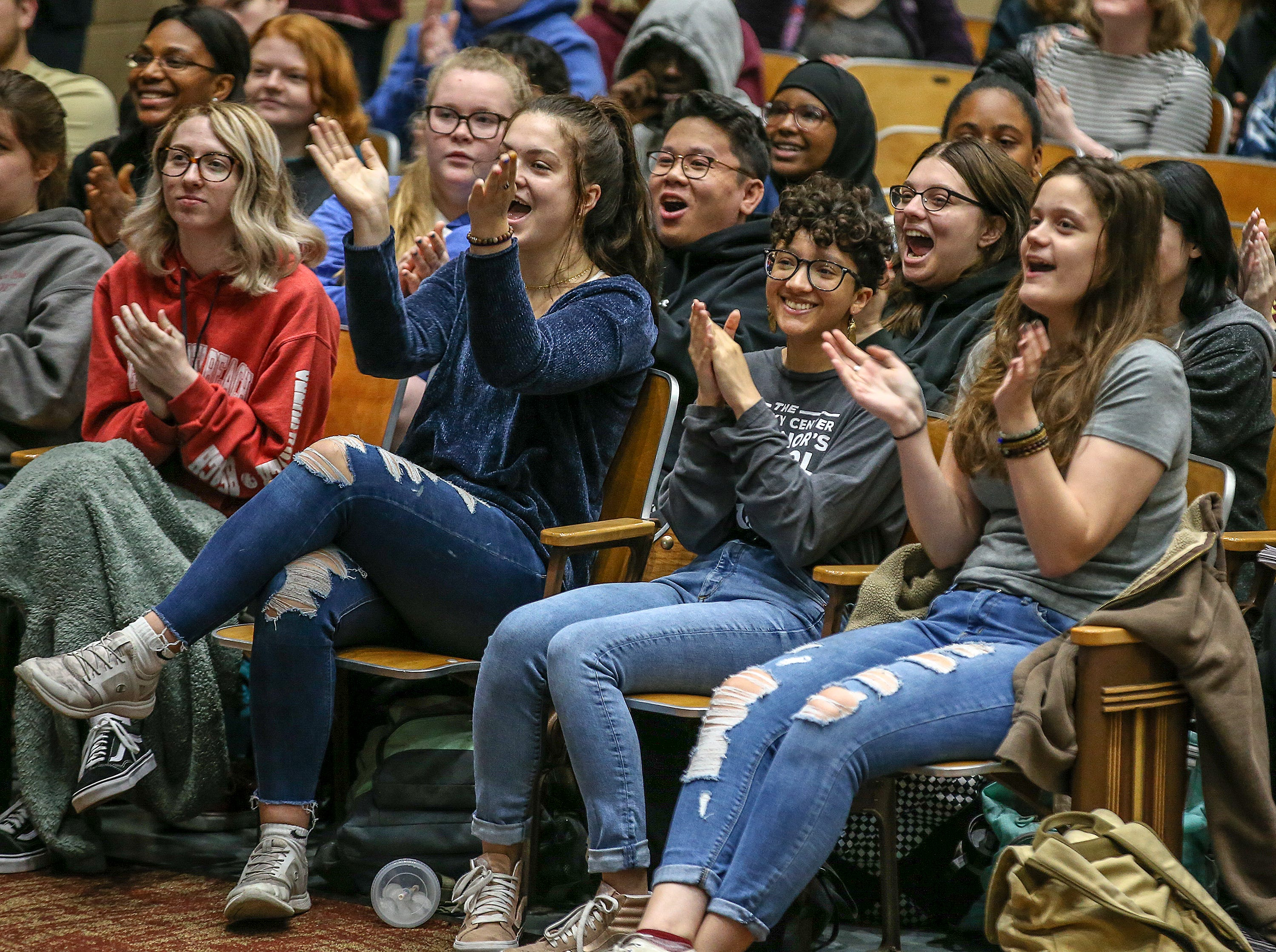 Atherton students cheer during an assembly as part of the Vans Custom Culture contest.  The contest had students use the distinctive footwear to design shoes that depict their state.  Atherton was one of the runner ups and received $10,000 from Vans.May 14, 2019
