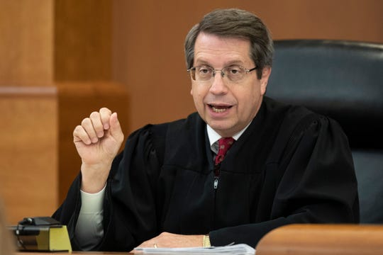 Judge Ken Howard presides during the first day of trial in Elizabethtown, Kentucky for the 2017 death of Hunter Payton, a four-year-old that died from head injuries while in the foster care of Billy Embry-Martin and husband Travis Embry-Martin. May 13, 2019