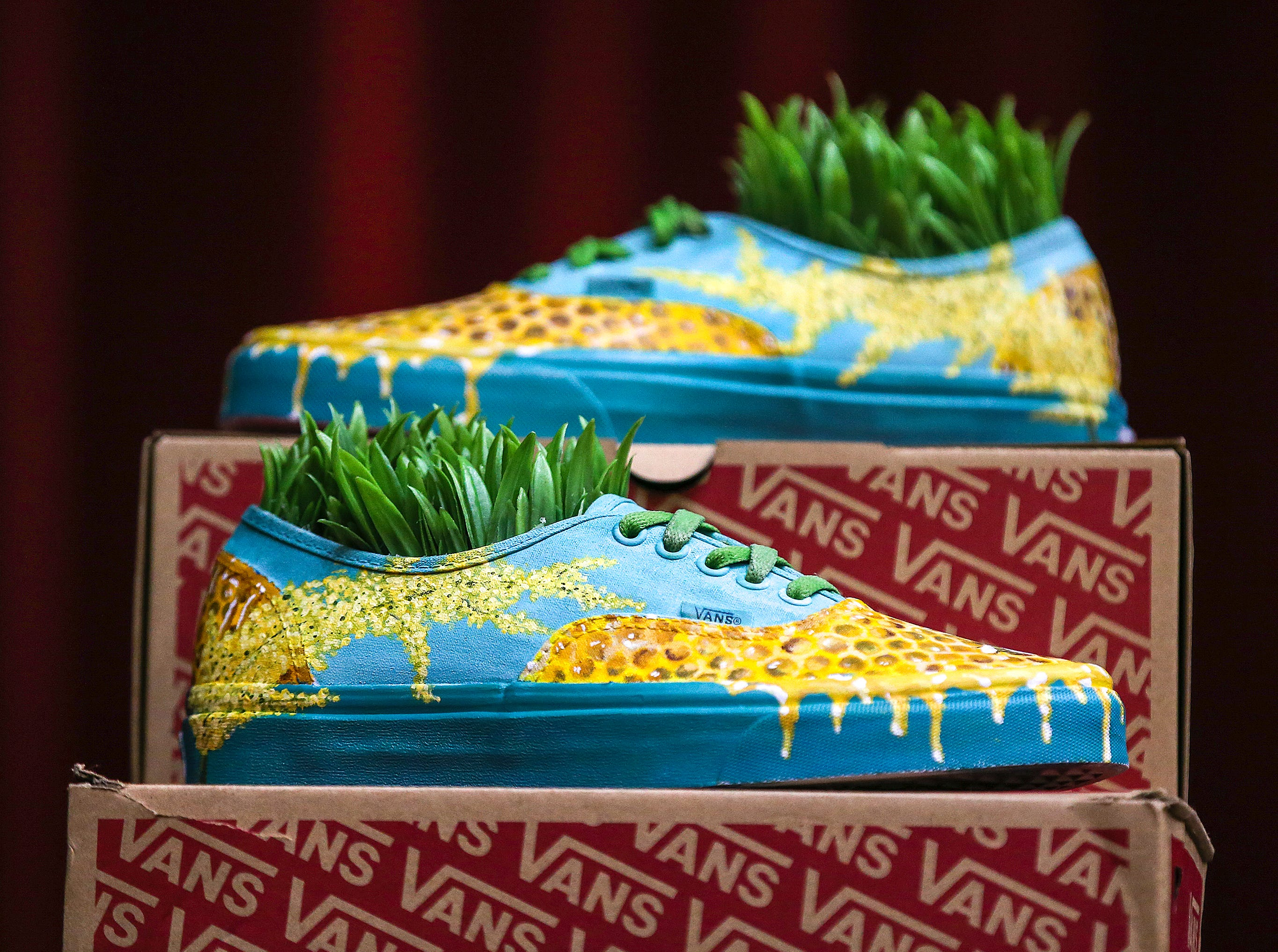 One of the pieces of art created by Atherton High School students for the Vans Custom Culture contest.  The contest had students use the distinctive footwear to design shoes that depict their state.  Atherton was one of the runner ups and received $10,000 from Vans.May 14, 2019