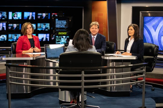 From left, candidates for lieutenant governor Jacqueline Coleman, Gill Holland and Steph Horne at KET's debate on Monday, May 13, 2019.
