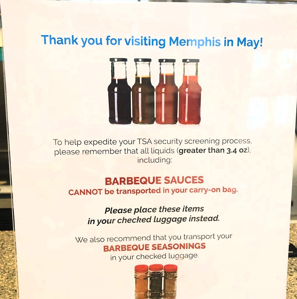 TSA reminds Memphis travelers: You can't bring that much BBQ sauce on a plane