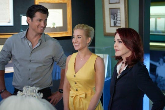 "Priscilla Presley (right) makes a guest appearance alongside stars Kellie Pickler and Wes Brown in ""Wedding at Graceland."""
