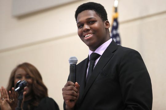 High School Junior Matthew Thomas, who is enrolled in a carpentry program in Shelby County Schools, speaks to a crowd gathered Tuesday at Shelby County Schools Teaching and Learning Academy during an announcement for a new curriculum launch of the Tennessee Builders Education Foundation.