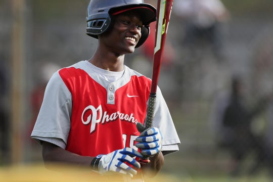Rontavian Green waits on deck to hit for Raleigh Egypt on Tuesday, April 16, 2019. Green's brothers were hurt in the Orange Mound Youth bus crash forcing him to miss school to take care of his them while they were hospitalized and going through rehabilitation.