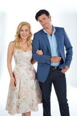 "Hallmark royality: Kellie Pickler and Wes Brown, stars of the ""Christmas/Wedding"" Graceland series."