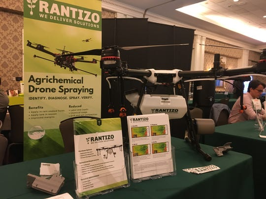 A drone for agricultural spraying on display at the Davos on the Delta trade show at The Peabody in Memphis on May 14.