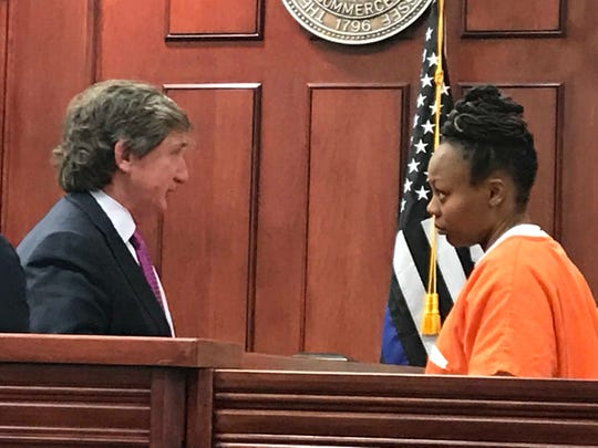 Defense attorney Leslie Ballin speaks with Latoshia Daniels ahead of a scheduled preliminary hearing in Collierville. Daniels waived her right to that hearing and her case now goes to the grand jury.