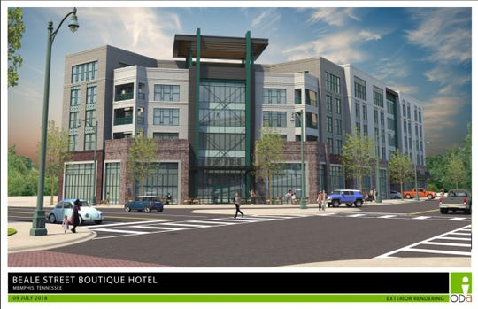 Rendering of proposed hotel at 380 Beale St.