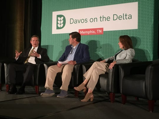 Tennessee Gov. Bill Lee speaks at a forum during the Davos on the Delta agricultural tech conference May 14, 2019, at The Peabody. With him are panel moderator Paul Noglows, executive producer of the conference, and Nancy Roman, CEO of Partnership for Healthier America.