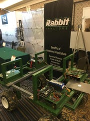 The startup company Rabbit Tractors is working to build robotic tractors. Pictured is the company's display at the Davos on the Delta trade show at The Peabody in Memphis on May 14.